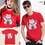 ต้อนรับเทศกาลตรุษจีน 2019 เสื้อยืดแฟชั่น เสื้อยืดสีแดงลายแมวมงคล สีสันสวยสดใส ใส่ต้อนรับตรุษจีนที่กำลังจะนี้